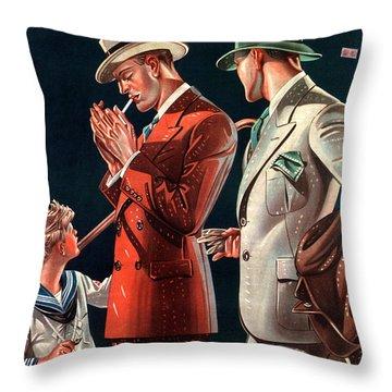 La Rinascente - Clothing For Men - Italian Fashion - Padova, Italy - Vintage Advertising Poster Throw Pillow