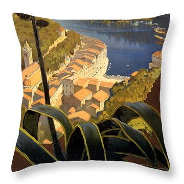 La Riviera Italienne Vintage Travel Poster Restored Throw Pillow