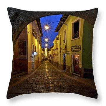 La Ronda Calle In Old Town Quito, Ecuador Throw Pillow