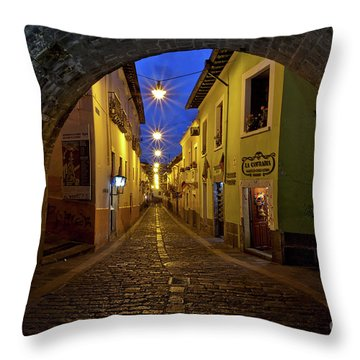 Throw Pillow featuring the photograph La Ronda Calle In Old Town Quito, Ecuador by Sam Antonio Photography