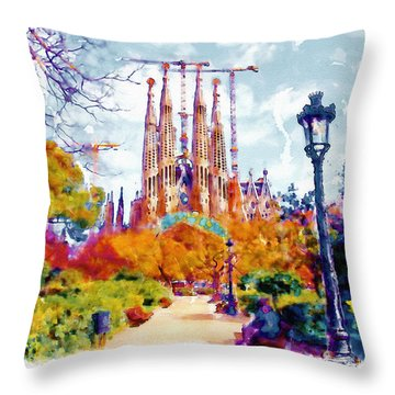 La Sagrada Familia - Park View Throw Pillow by Marian Voicu
