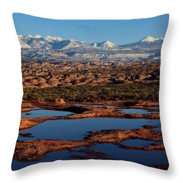 La Sal Mountains And Ephemeral Pools Throw Pillow