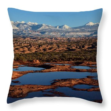 La Sal Mountains And Ephemeral Pools Throw Pillow