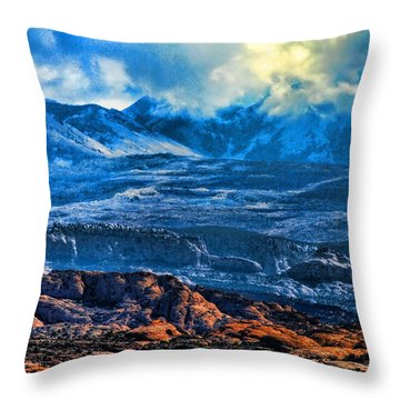 La Sal Mountains Arches National Park Throw Pillow