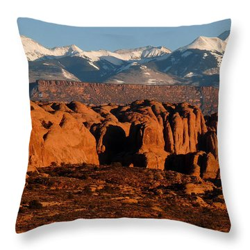 La Sal Mountains Throw Pillow
