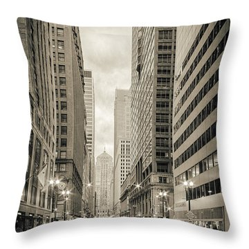 Lasalle Street Canyon With Chicago Board Of Trade Building At The South Side - Chicago Illinois Throw Pillow by Silvio Ligutti