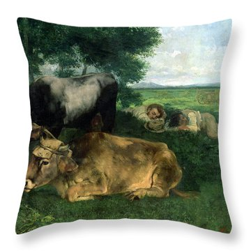 La Siesta Pendant La Saison Des Foins Throw Pillow by Gustave Courbet