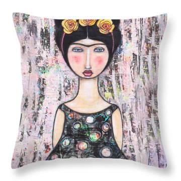 Throw Pillow featuring the mixed media La-tina by Natalie Briney