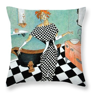 La Toilette -- Woman In Whimsical Art Deco Bathroom Throw Pillow