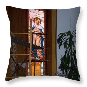 La Virgen Milagrosa Throw Pillow