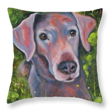 Lab In The Grass Throw Pillow