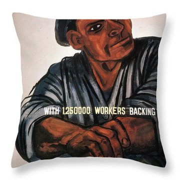 Labor Poster, 1930s Throw Pillow