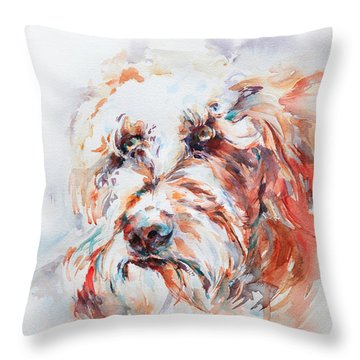 Labradoodle Throw Pillow by Stephie Butler