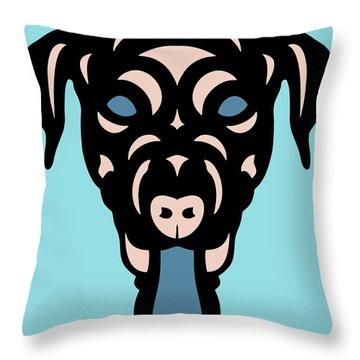 Labrador Dorianna - Dog Design - Island Paradise, Pale Dogwood,  Niagara Blue Throw Pillow