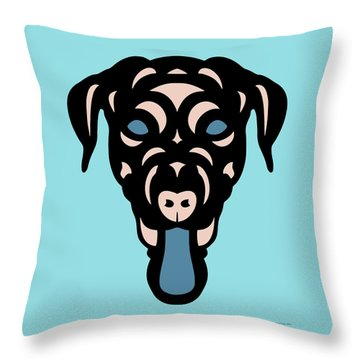 Labrador Dorianna - Dog Design - Island Paradise, Pale Dogwood,  Niagara Blue Throw Pillow