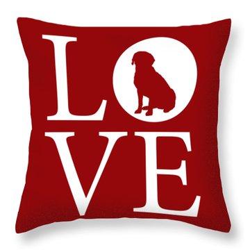 Labrador Love Red Throw Pillow