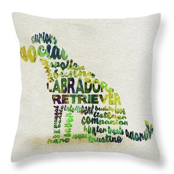 Throw Pillow featuring the painting Labrador Retriever Watercolor Painting / Typographic Art by Ayse and Deniz