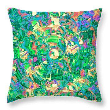 Labrynth Greens Throw Pillow by Cindy Lee Longhini