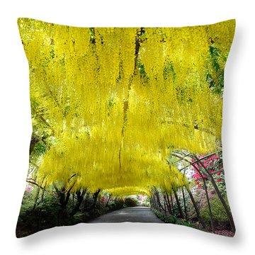 Laburnum Arch, Bodnant Garden Throw Pillow