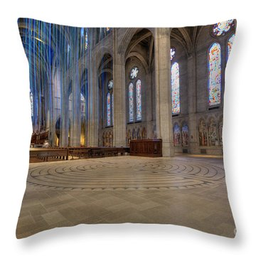 Labyrinth At Grace Throw Pillow by David Bearden