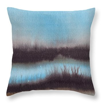 Throw Pillow featuring the painting Lac Au Soir by Marc Philippe Joly