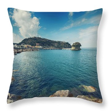 Lacco Ameno Harbour ,  Ischia Island Throw Pillow