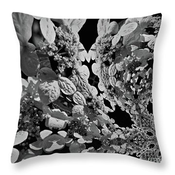 Lace Cap Hydrangea Flower Abstract Throw Pillow