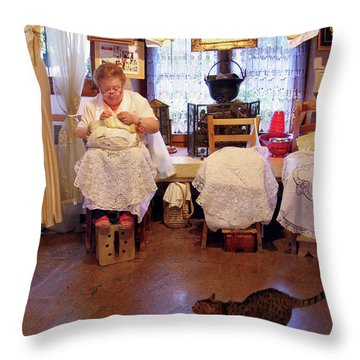 Throw Pillow featuring the photograph Lace Lady Of Burano by Jennie Breeze