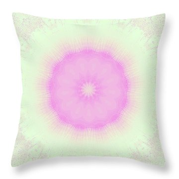 Lacey Pink And Green Throw Pillow