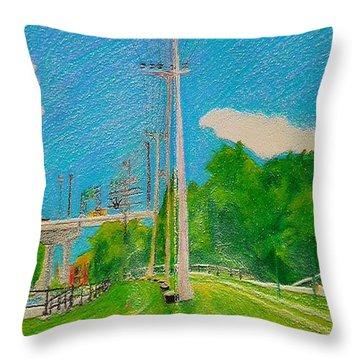 Lachine Canal Pencil Crayon Throw Pillow