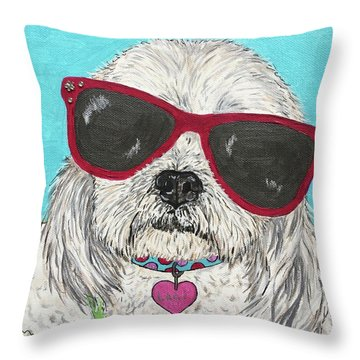 Laci With Shades Throw Pillow