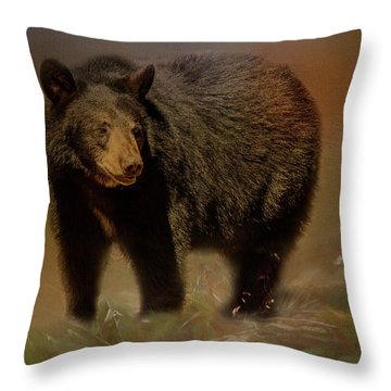 Black Bear In The Fall Throw Pillow