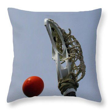 Lacrosse Stick And Ball Throw Pillow