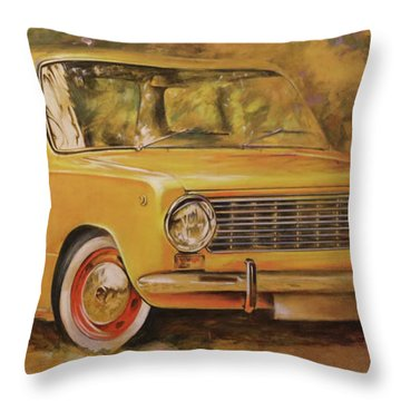 Lada. Zhiguli .automobile Painting.yellow Car Painted On Leather By  Vali Irina Ciob Throw Pillow