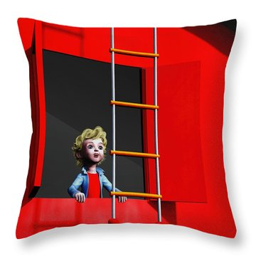 Throw Pillow featuring the painting Ladder To The Sky by Dave Luebbert