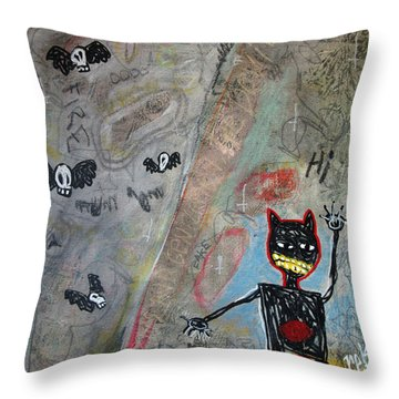 Throw Pillow featuring the painting Ladies And Gentlement, The Devil by Rick Baldwin