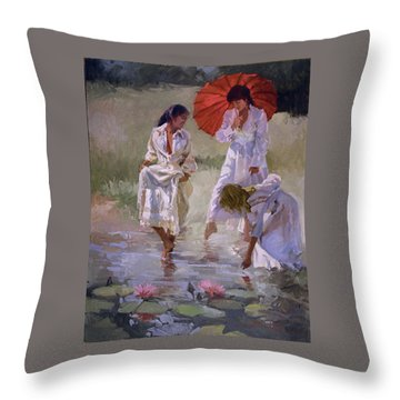 Ladies And Lilies Throw Pillow
