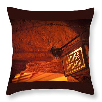 Ladies Parlor Sign Throw Pillow by Carolyn Marshall