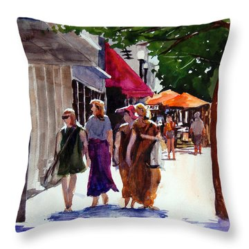 Ladies That Shop Throw Pillow by Ron Stephens
