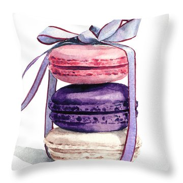 Laduree Macaron Stack Tied With A Bow Pink Violet Throw Pillow