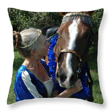 Lady And Her Horse Throw Pillow