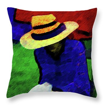 Lady And Puppy Painting Throw Pillow