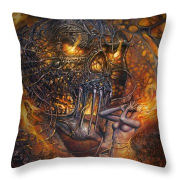 Lady And Skull Throw Pillow
