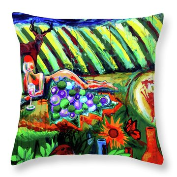 Throw Pillow featuring the painting Lady And The Grapes by Genevieve Esson