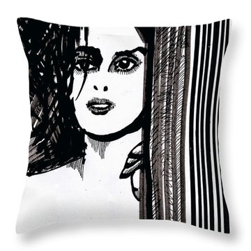 Throw Pillow featuring the drawing Lady At The Door by Seth Weaver