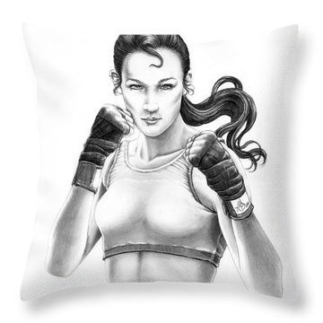 Lady Boxer Throw Pillow by Murphy Elliott