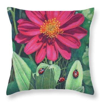 Lady Bug Picnic Throw Pillow