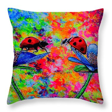 Lady Bugs Throw Pillow