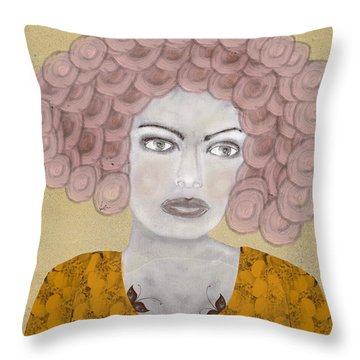 Throw Pillow featuring the painting Lady Butterfly by Bri B