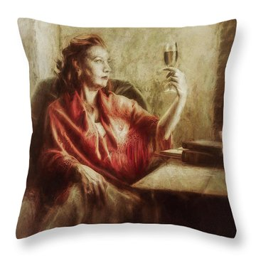 Lady By The Window Throw Pillow
